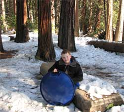 Zachary with sled at Yosemite